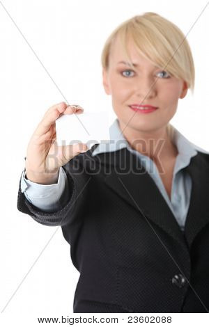 Businesswoman with business card, isolated on white background