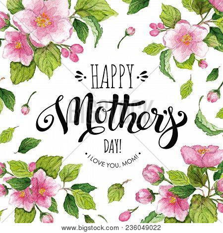 Happy Mothers Day Banner With Apple Flowers Poster