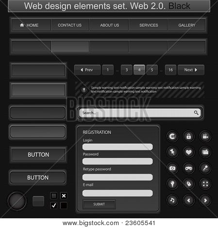 Web Design Elements Set. Black