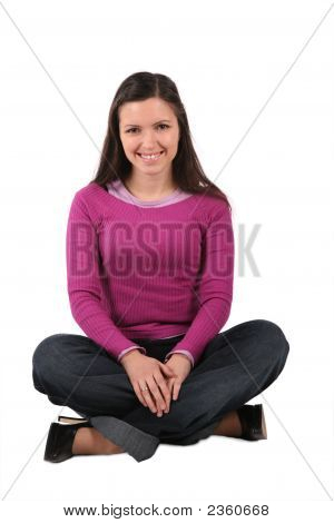 Beautiful Young Woman Sit Isolated On White