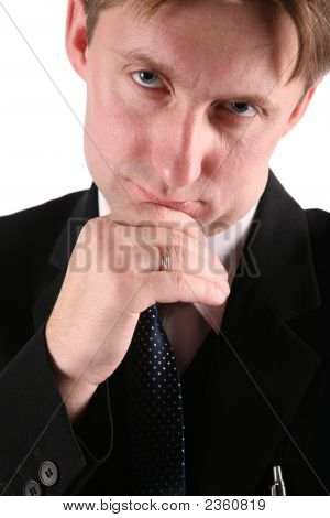 Pensive Businessmen Isolated On White.