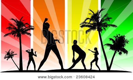 Vector editable dancing silhouette group