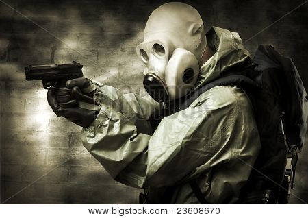 Portrait Of  Person In Gas Mask