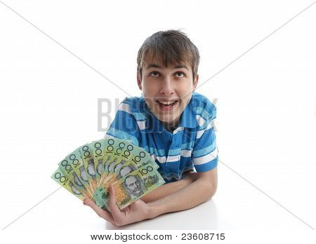 Boy With A Fan Of Money Banknotes