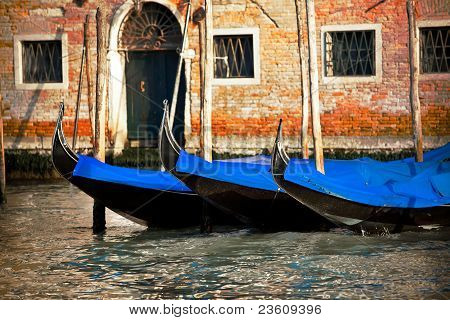 Gondolas In Venice City, Italy