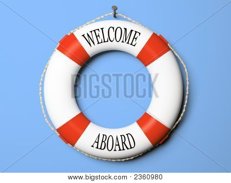 Red And White Life Buoy Isolated On Blue Background