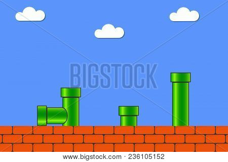 poster of Video Game In Old Style. Retro Display Background For Game With Bricks And Pipe Or Tube. Vector Illu