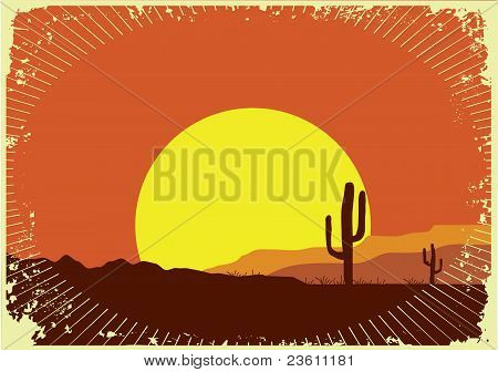 Grunge Wild Western Background Of Sunset.desert Landscape With Sun