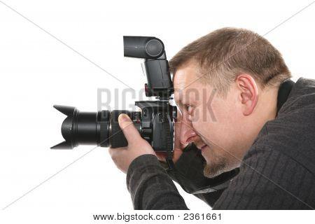 Fotógrafo isolado no branco