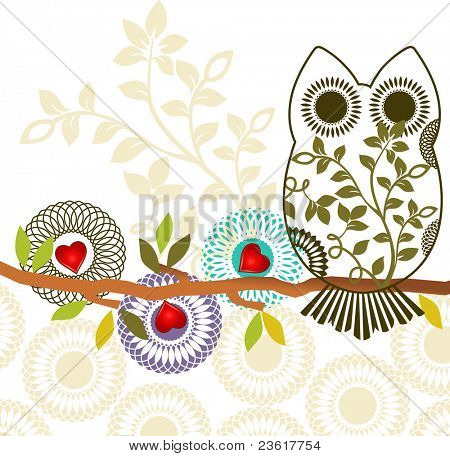 Sweet owl sitting on branch - three different unique flowers - layered