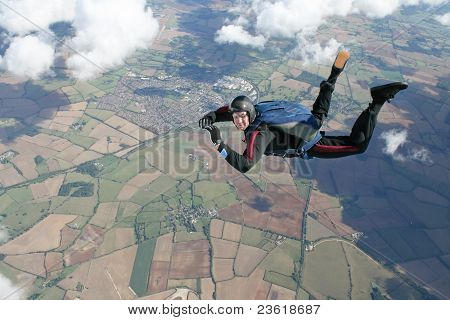 Solo skydiver in freefall