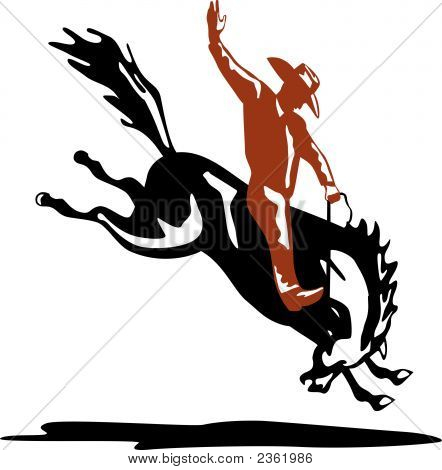 Rodeo Cowboy And Horse
