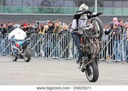 motobiker performs at the Kiev Motorcycle Show