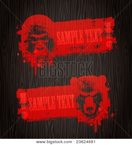 Warning grunge vector banners with animal heads painting with blood on wooden wall