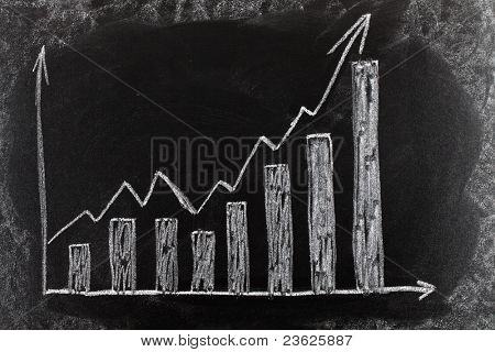 Business chart on blackboard showing increase in sales