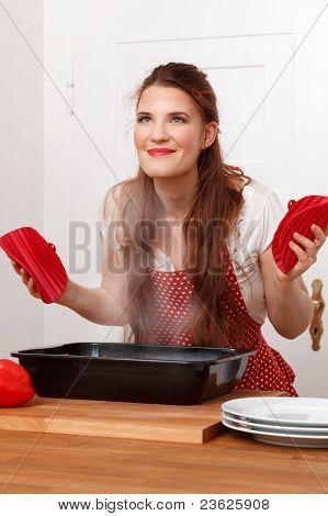Woman with cooked dish