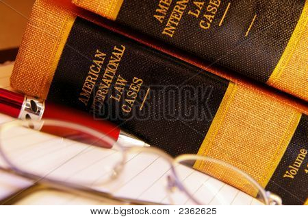 Law Books And Glasses