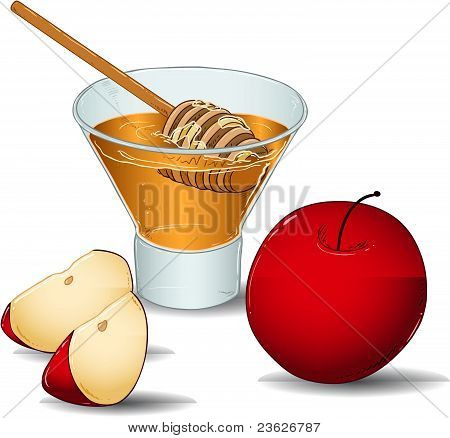 Rosh Hashanah Glass Of Honey With Apples