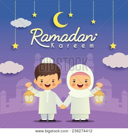 Ramadan greeting card cute cartoon muslim kids holding lantern with ramadan greeting card cute cartoon muslim kids holding lantern with crescent moon stars and mosque as background vector illustration m4hsunfo