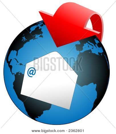 Global World Email Arrow