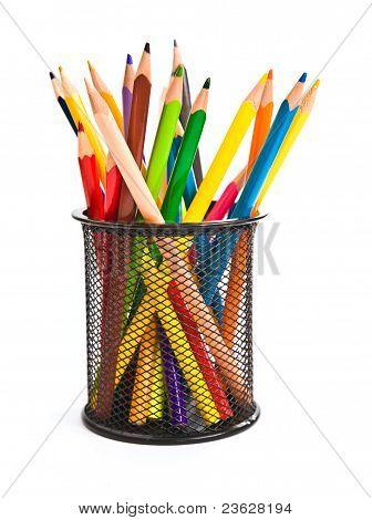holder basket full of colorful pencils