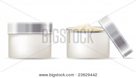 Cream containers isolated on white background. Raster version.