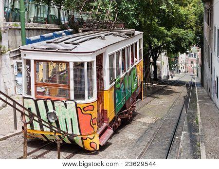 Lisbon Street With Tram