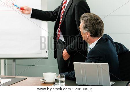 Negocios - Senior Manager o jefe en reunión mientras que un colega presenta una nueva estrategia