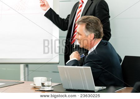 Business - Senior Manager or boss in meeting while a colleague is presenting a new strategy