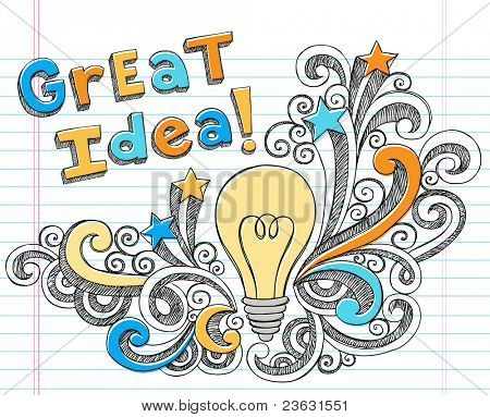 Great Idea LIghtbulb Hand-Drawn Sketchy Notebook Doodles on Lined Sketchbook Paper Background- Vector Illustration