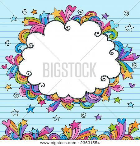 Cloud Rainbow Colored Frame Sketchy Doodle- Hand-Drawn Notebook Doodles Design Elements on Lined Sketchbook Paper Background- Vector Illustration