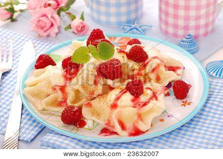 Ravioli (pierogi) With Cottage Cheese And Raspberry