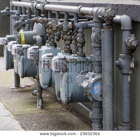 Linha de medidor de gás em ângulo