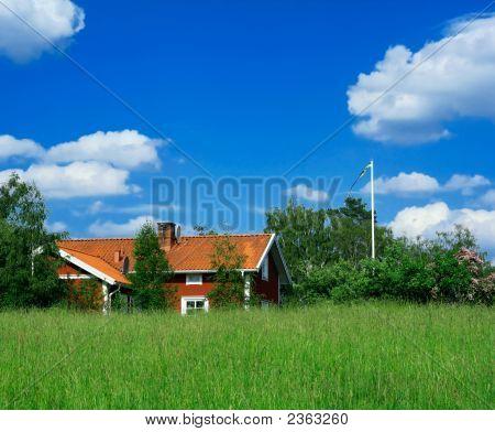 Schwedische Land-Seitenansicht