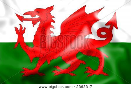 Rippled Silk Welsh Flag