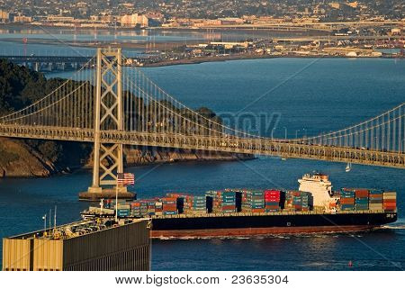Bay Bridge and Cargo Boat, San Francisco California