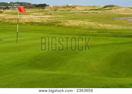 Seaside Golf Landscape At Falsterbo, Sweden In October. Putting Green With Sand Dunes Behind.