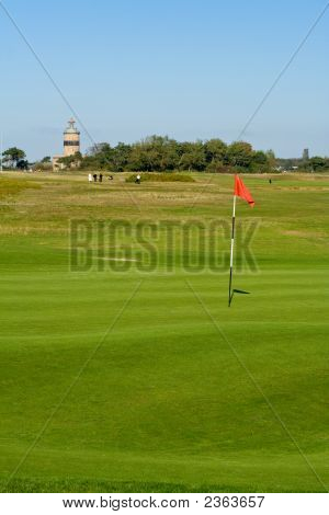 Seaside Golf Landscape At Falsterbo, Sweden In October. Putting Green With A Lighthouse Behind.