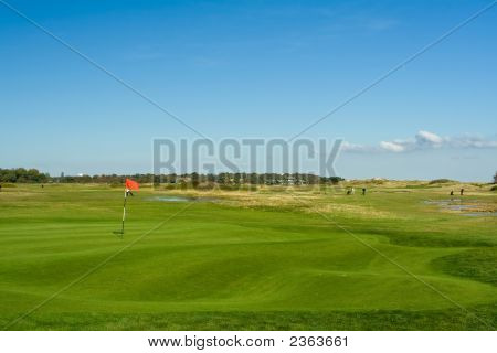 Seaside Golf Landscape At Falsterbo, Sweden In October. Seashore And A Lighthouse.