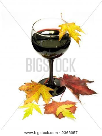 Glass Of Red Vine With Multicolored Fall Leafs 1