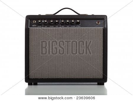 A guitar amplifier or speaker on a white background