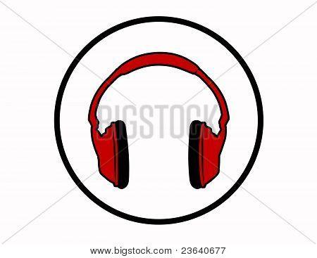 Red Headphones Symbol