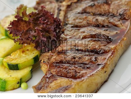 Barbecue T Bone Steak Close Up