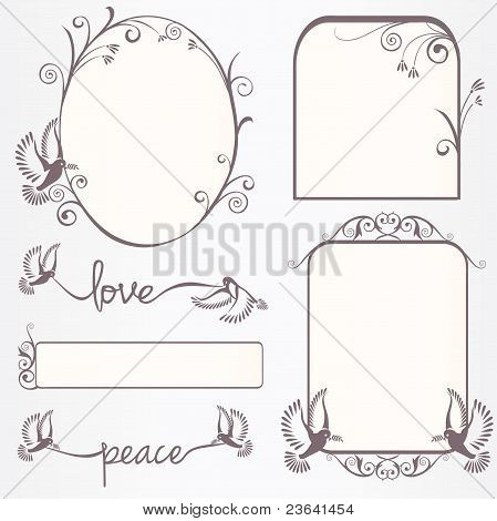 Ornate Vintage Frame Set With Doves