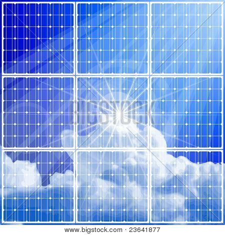 solar power panel & blue sky. Bitmap copy my vector ID 52829062