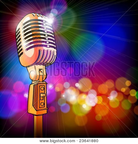 golden microphone in the light colored lights. Bitmap copy my vector ID 52829053