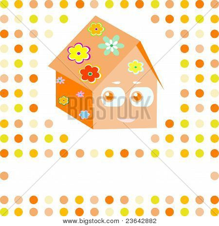 cartoon family smile cute house