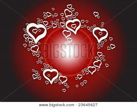 Background love bright hearts