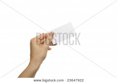 Woman's Hand Hold Blank Card