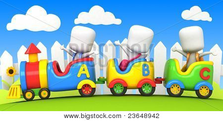 3D Background Illustration Featuring Kids on a Toy Train